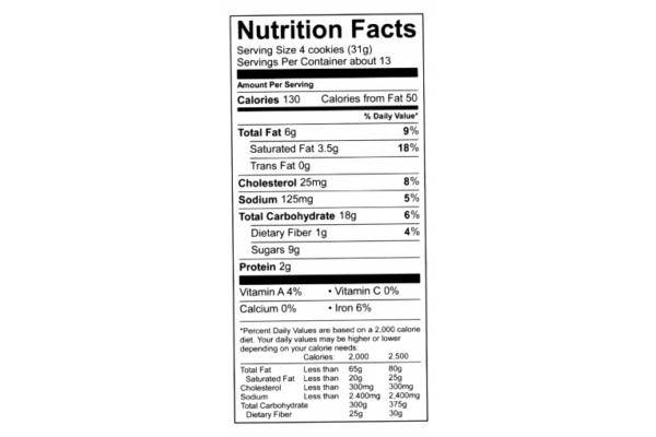 Lemon Cookie Nutritional Info