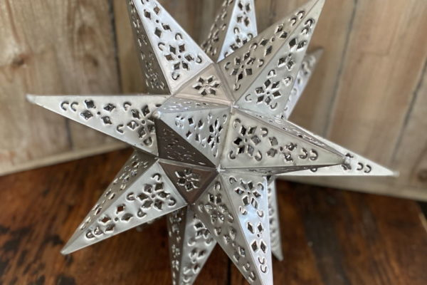Medium Punched Tin Star Pewter Finish