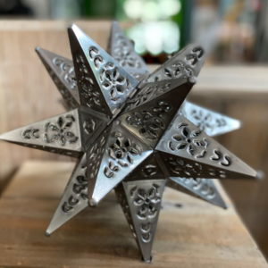 Small Punched Tin Star pewter Finish